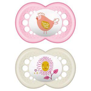 Mam- Original Little Farm Succhietto 16M+ Silicone Femmina Confezione 2 Pezzi
