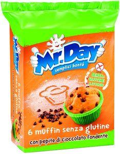 Mr Day - Muffin Con Pepite Di Cioccolato Senza Glutine Confezione 6 Pezzi (Scadenza Prodotto 18/03/2021)