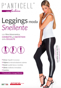 P'Anticell - Leggings Moda Snellente Banda Nero/Argento Taglia L/XL