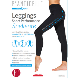 P'Anticell - Leggings Sport Performance Snellente Nero Taglia XXL