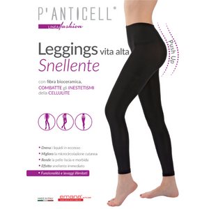 P'Anticell - Leggings Push Up Vita Alta Snellente Nero Taglia XS
