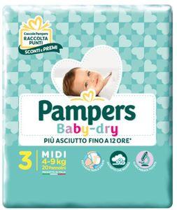 Pampers - Baby Dry Downcount Midi Taglia 3 Confezione 20 Pezzi