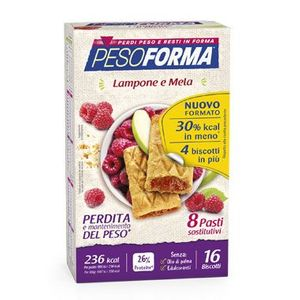 Pesoforma - Biscotti Lamponi e Mela Confezione 16 Pezzi (Scadenza Prodotto 30/09/2021)