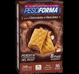Pesoforma - Biscotto Cioccolato E Nocciola Confezione 16 Pezzi