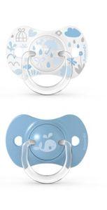 Suavinex - Memories Succhietto Tettina Simmetrica 18M+ Azzurro Confezione 2 Pezzi