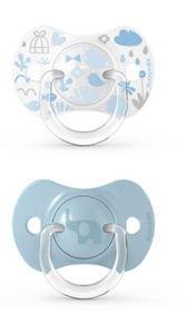 Suavinex - Memories Succhietto Tettina Simmetrica 6/18M+ Azzurro Confezione 2 Pezzi
