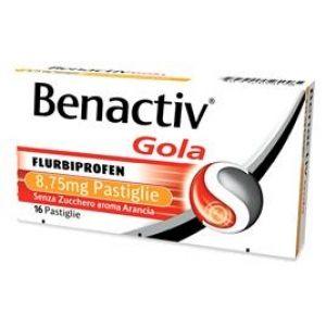 Benactiv - Gola Arancia Senza Zucchero Confezione 16 Pastiglie