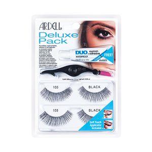Ardell - Deluxe Pack Ciglia 105 Black + Dual Lash Applicator + Colla Adesiva Trasparente
