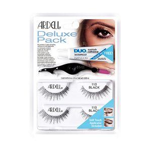 Ardell - Deluxe Pack Ciglia 110 Black + Dual Lash Applicator + Colla Adesiva Trasparente