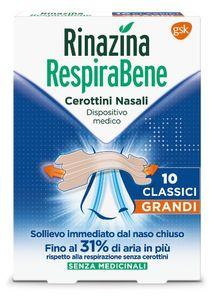 Rinazina - Respirabene Cerotti Nasali Classici Grandi Cartoni Confezione 10 Pezzi