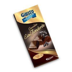 Giusto - Cioccolato Extra Fondente Senza Zucchero Con Stevia Confezione 100 Gr