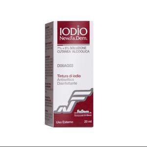 New Fa.Dem. - Iodio Soluzione Cutanea Alcolica I Antisettico Antimicotico Confezione 20 ml