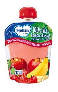 Mellin - Pouches 100% Fragola e Banana Confezione 90 Gr