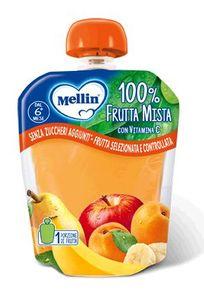 Mellin - Pouches 100% Frutta mista Confezione 90 Gr (Scadenza Prodotto 22/01/2021)