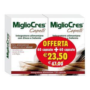 MiglioCres - Integratore Capelli Donna Con Zinco e Selenio Confezione 60+60 (120 capsule totali)
