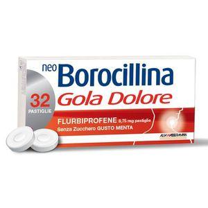 NeoBorocillina - Gola Dolore Senza Zucchero Gusto Menta Confezione 32 Pastiglie