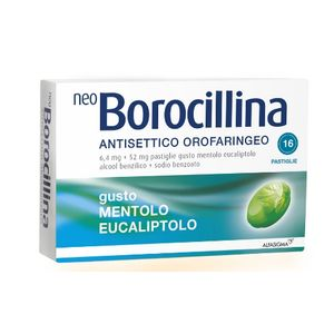 Neoborocillina -  Antisettico Orofaringeo  Confezione 16 Pastiglie Mentolo Eucaliptolo
