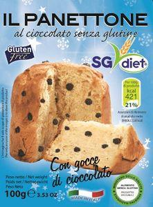 Sg Diet - Panettone Al Cioccolato Senza Glutine Confezione 100 Gr (Scadenza Prodotto 18/03/2021)
