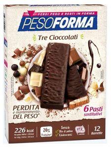 Pesoforma - Barretta Ai 3 Cioccolati Confezione 12 Pezzi (Scadenza Prodotto 30/06/2021)