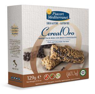 Piaceri Mediterranei - Barretta Riso Mais e Cioccolato Senza Glutine Confezione 129 Gr