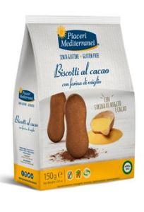 Piaceri Mediterranei - Biscotti Cacao Farina Di Miglio Senza Glutine Confezione 150 Gr (Scadenza Prodotto 23/03/2021)